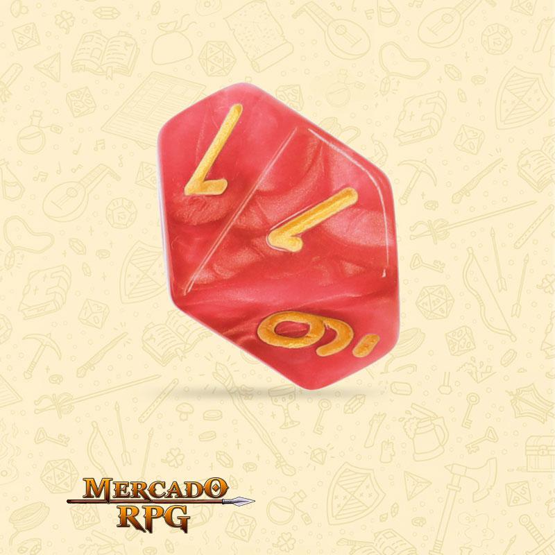 Dado de RPG - D10 Red Pearl Dice Golden Font - Dez Lados - Mercado RPG