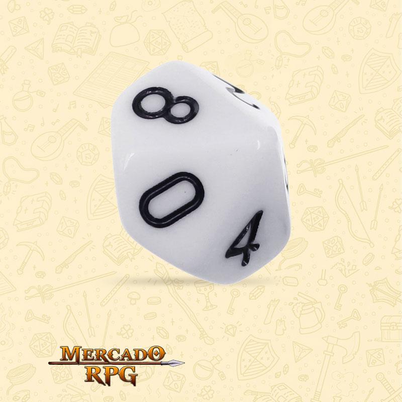 Dado de RPG - D10 White Opaque Dice - Dez Lados - Mercado RPG