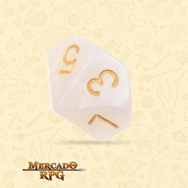 Dado de RPG - D10 White Pearl Dice - Dez Lados - Mercado RPG