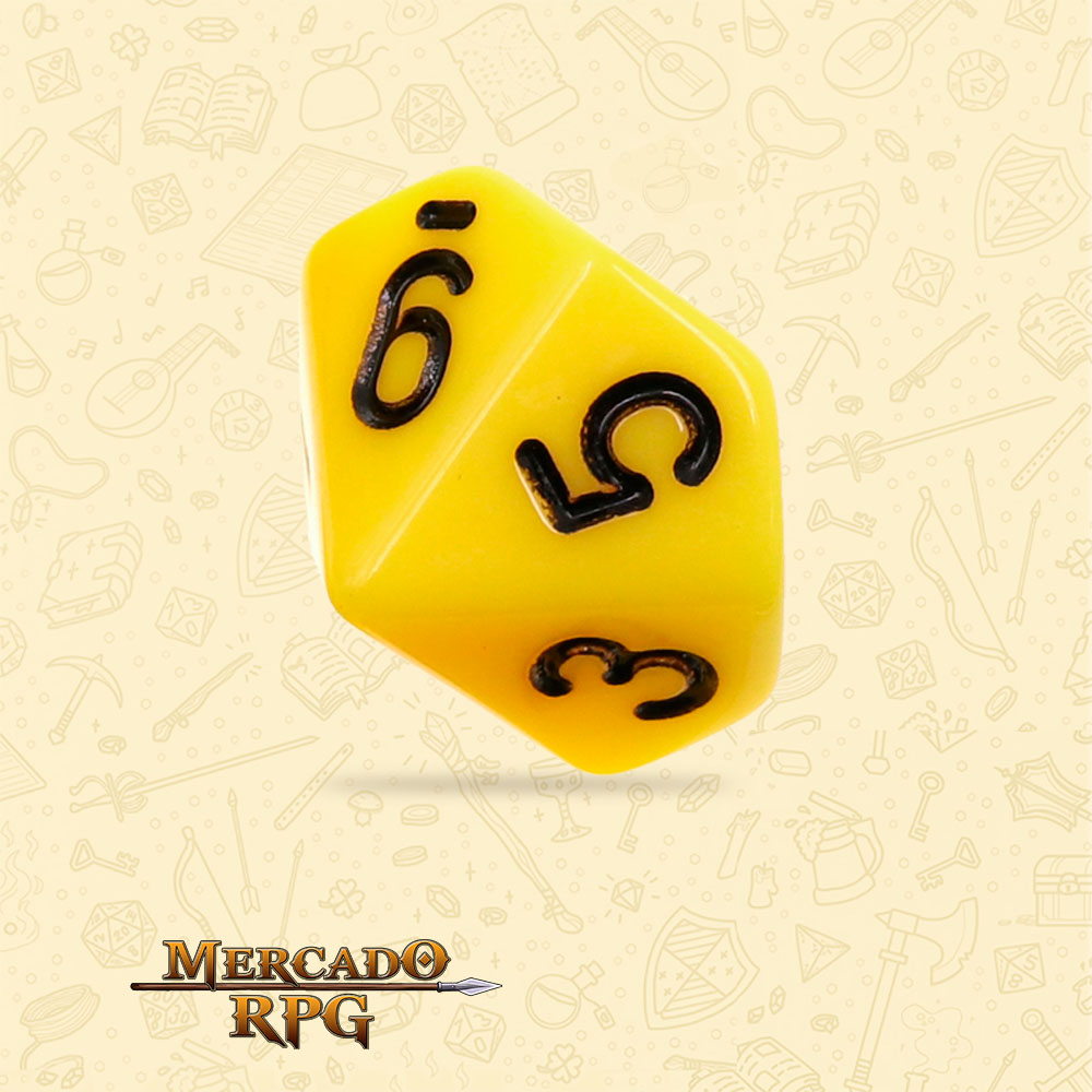 Dado de RPG - D10 Yellow Opaque Dice Black Font - Dez Lados - Mercado RPG