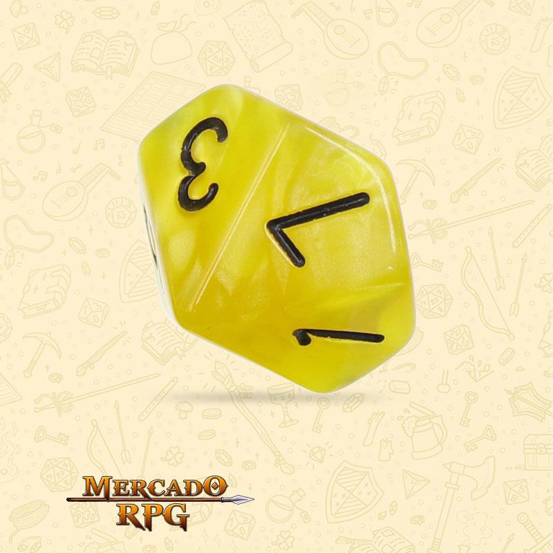 Dado de RPG - D10  Yellow Pearl Dice Black Font - Dez Lados - Mercado RPG