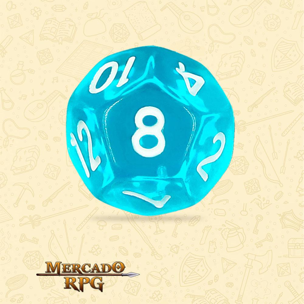 Dado de RPG - D12 Azure Gems Transparent Dice - Doze Lados - Mercado RPG