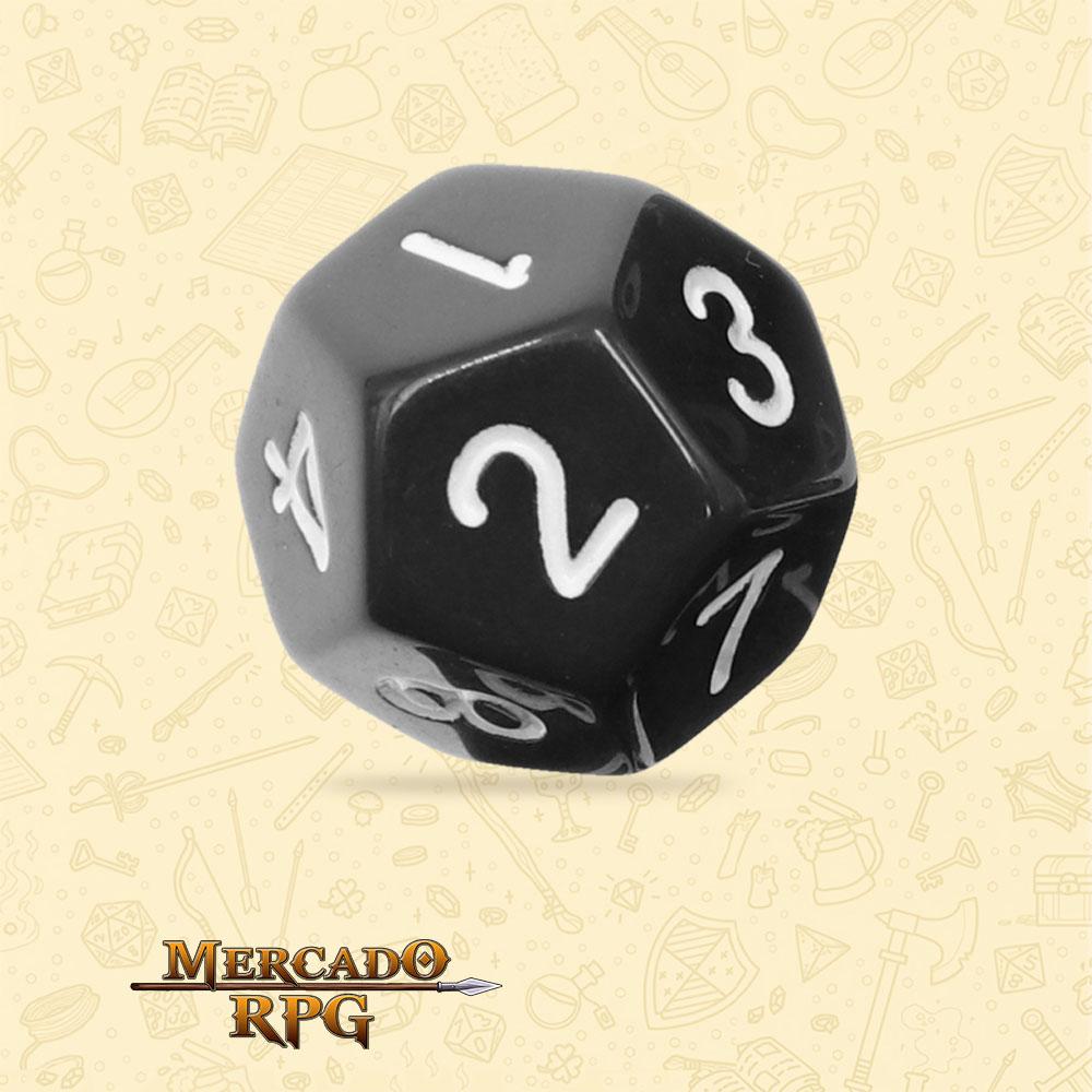Dado de RPG - D12 Black Opaque Dice - Doze Lados - Mercado RPG