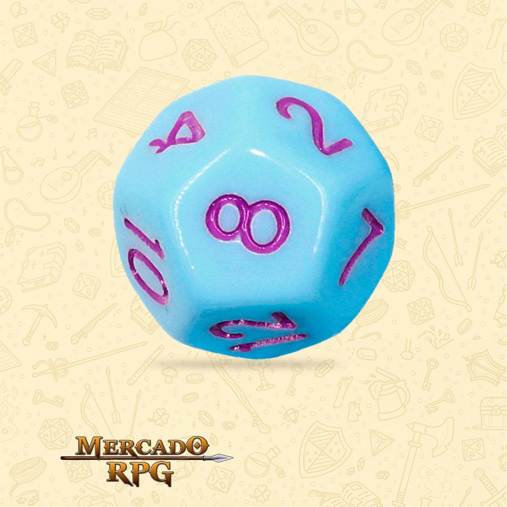 Dado de RPG - D12 Blue Jay Opaque Dice Purple Font - Doze Lados - Mercado RPG
