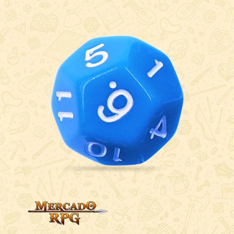 Dado de RPG - D12 Blue Opaque Dice - Doze Lados - Mercado RPG