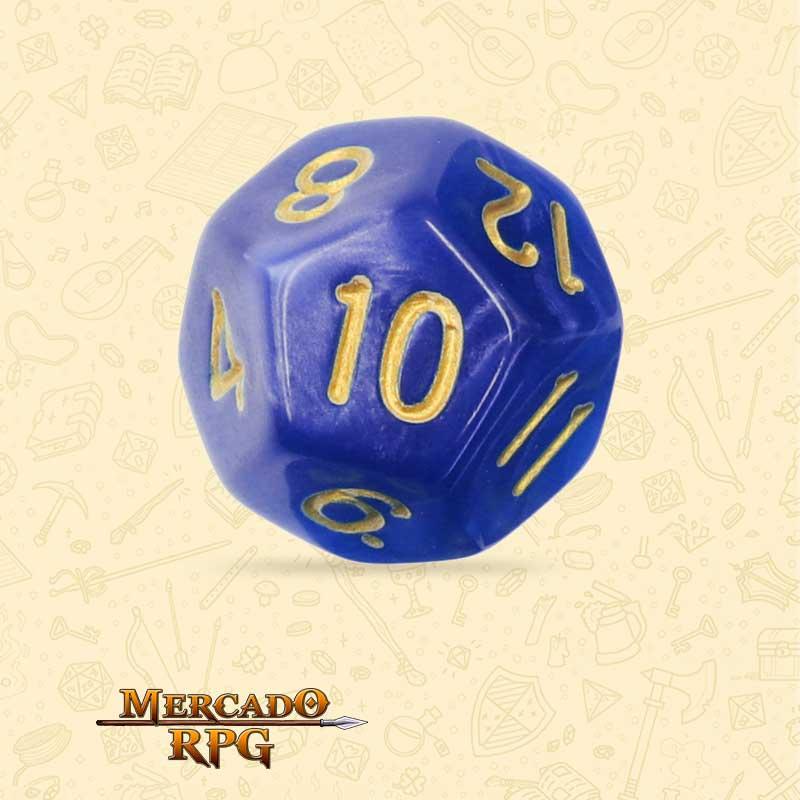 Dado de RPG - D12 Blue Pearl Dice Golden Font - Doze Lados - Mercado RPG