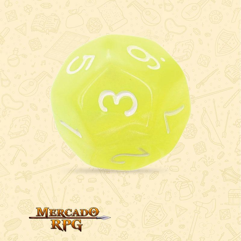Dado de RPG - D12  Bright Yellow Pearl Dice - Doze Lados - Mercado RPG