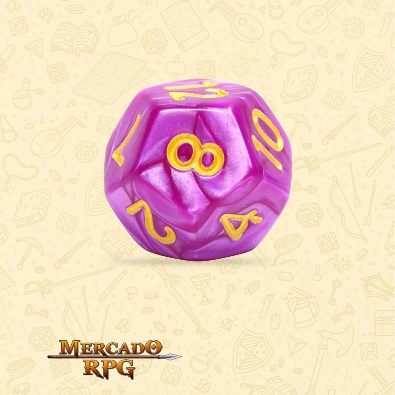 Dado de RPG - D12 Dark Purple Pearl Dice - Doze Lados - Mercado RPG