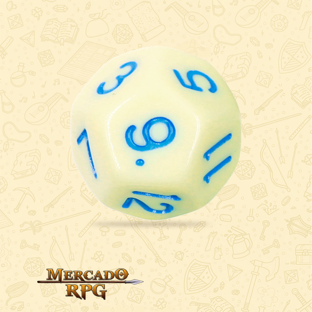 Dado de RPG - D12 Eggshell Robin Opaque Dice Blue Font - Doze Lados - Mercado RPG