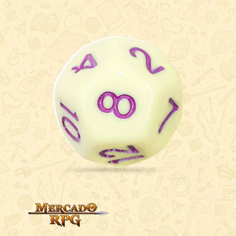 Dado de RPG - D12  Eggshell Rose Opaque Dice Purple Font - Doze Lados - Mercado RPG