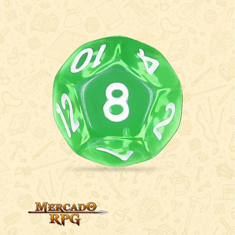 Dado de RPG - D12 Esmerald Gems Transparent Dice - Doze Lados - Mercado RPG