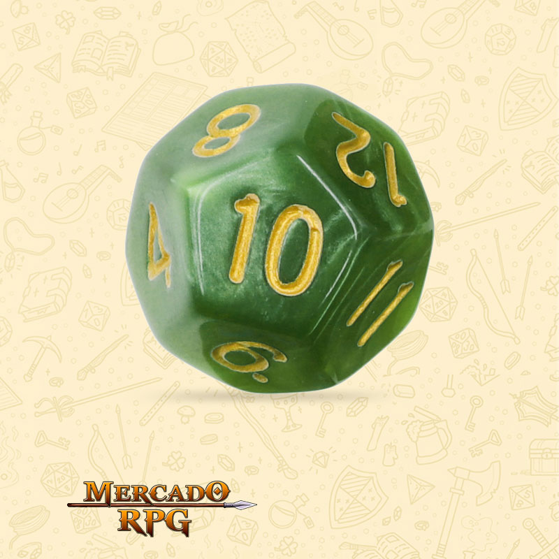 Dado de RPG - D12 Grass Green Pearl Dice Golden Font - Doze Lados - Mercado RPG
