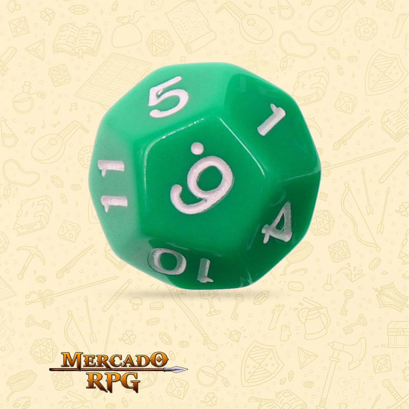 Dado de RPG - D12 Green Opaque Dice - Doze Lados - Mercado RPG