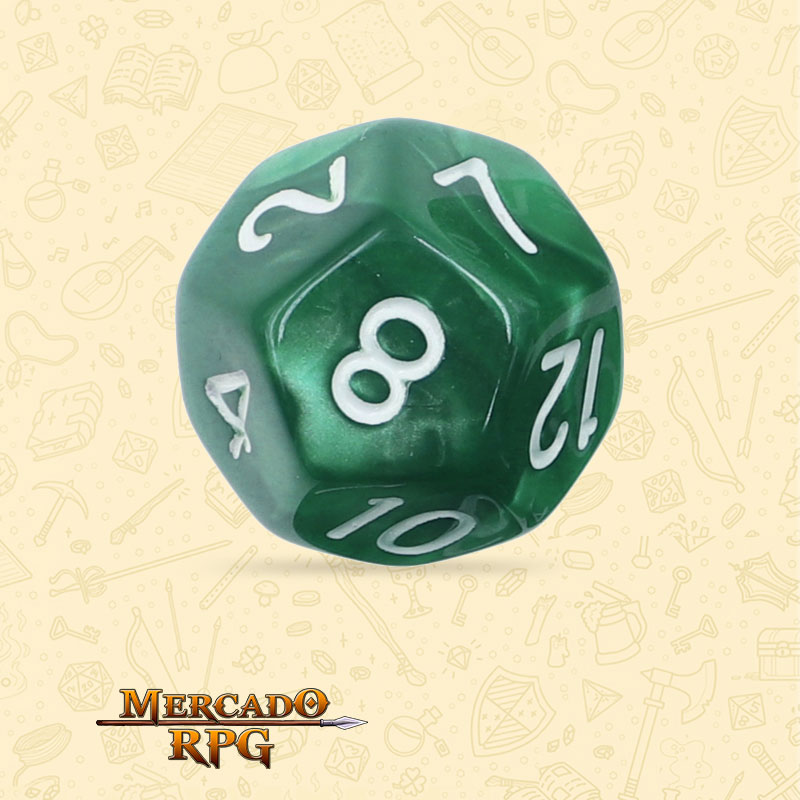 Dado de RPG - D12 Green Pearl Dice - Doze Lados - Mercado RPG