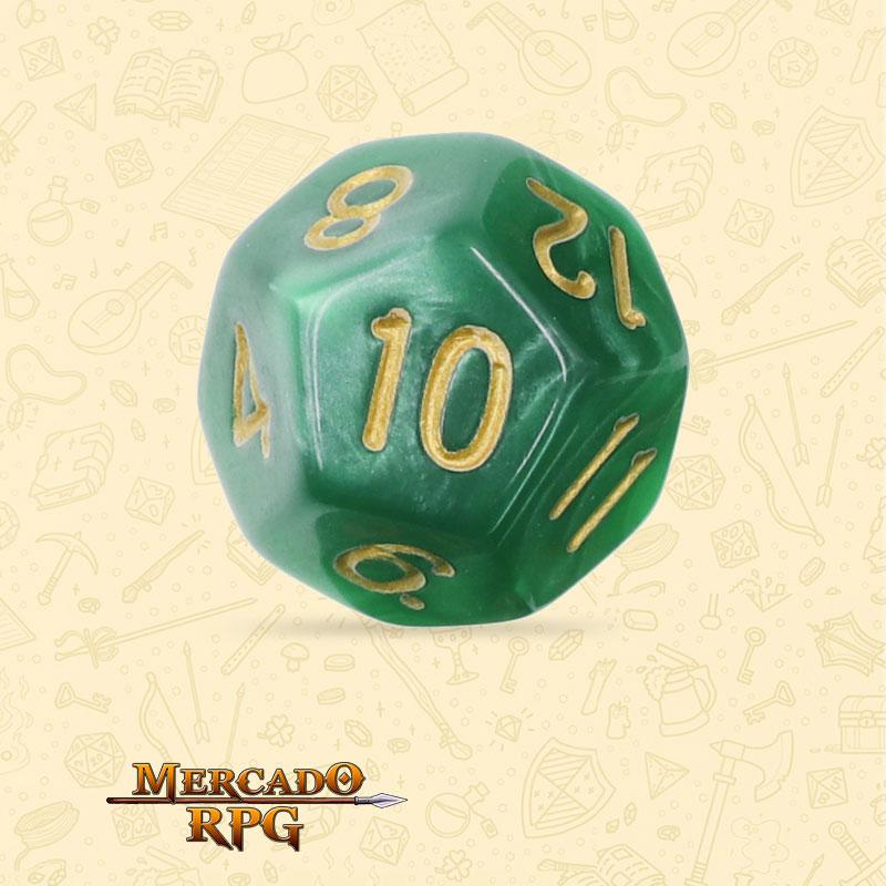 Dado de RPG - D12 Green Pearl Dice Golden Font - Doze Lados - Mercado RPG