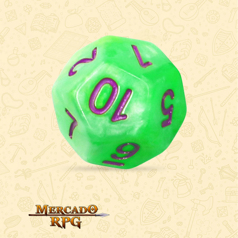 Dado de RPG - D12 Green Pearl Dice Purple Font - Doze Lados - Mercado RPG