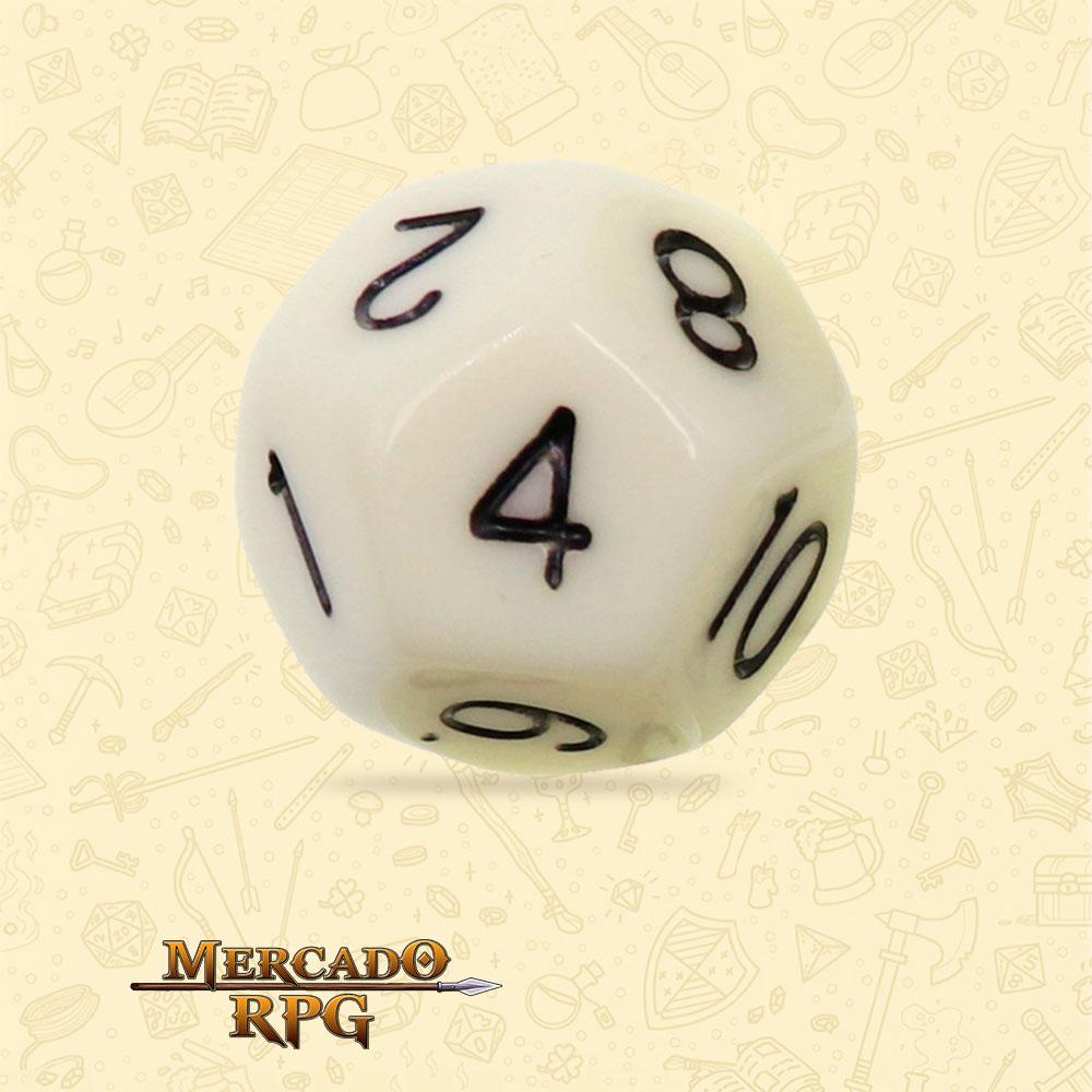 Dado de RPG - D12 Ivory Opaque Dice - Doze Lados - Mercado RPG