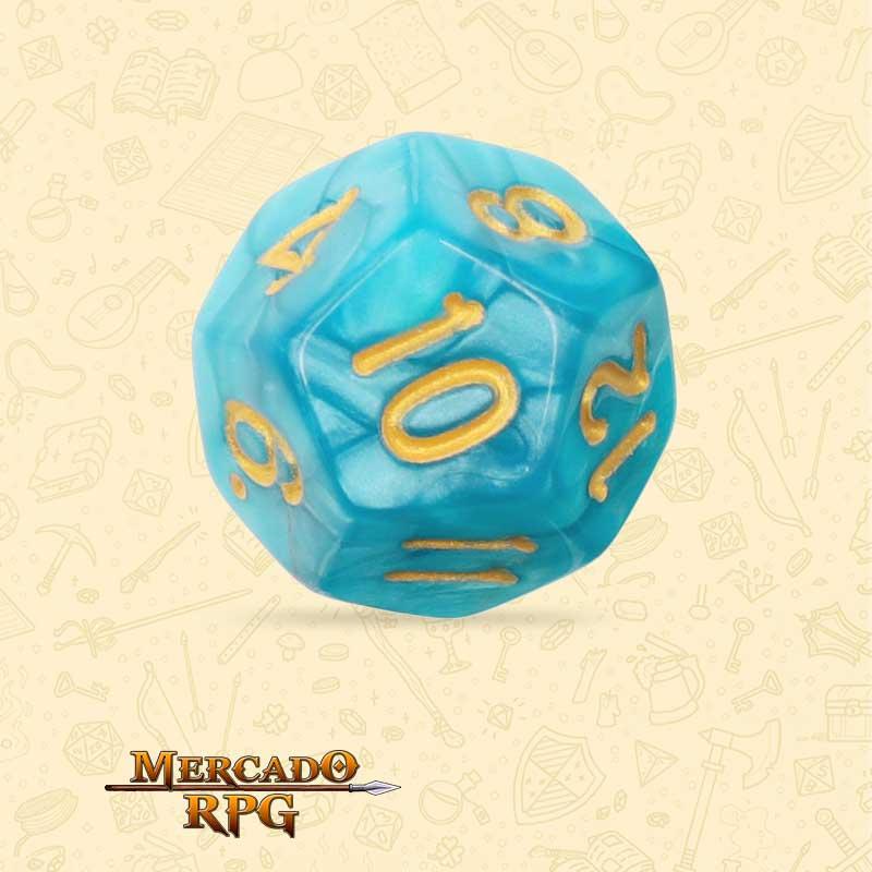 Dado de RPG - D12 Lake Blue Pearl Dice Golden Font - Doze Lados - Mercado RPG