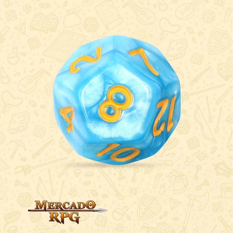 Dado de RPG - D12 Light Blue Dice Yellow Font - Doze Lados - Mercado RPG