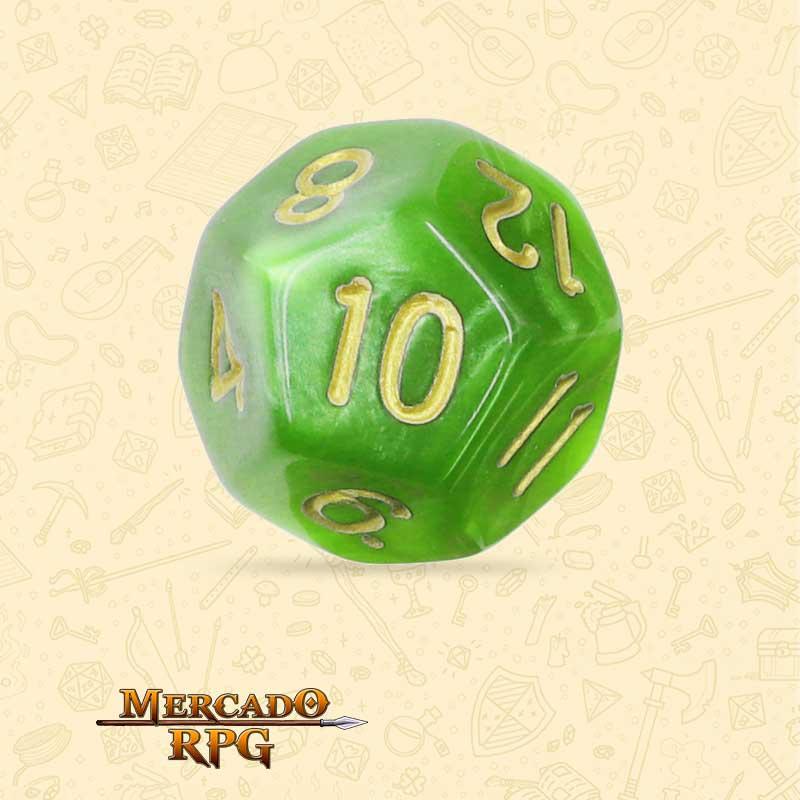 Dado de RPG - D12 Light Green Pearl Dice Golden Font - Doze Lados - Mercado RPG