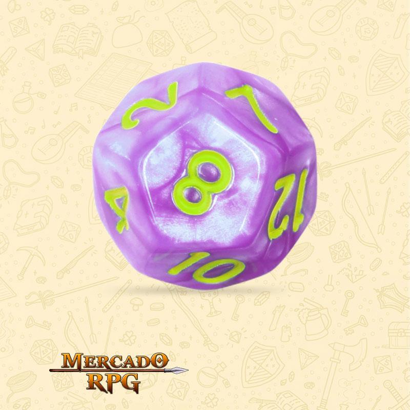 Dado de RPG - D12 Light Purple Dice Green Font - Doze Lados - Mercado RPG