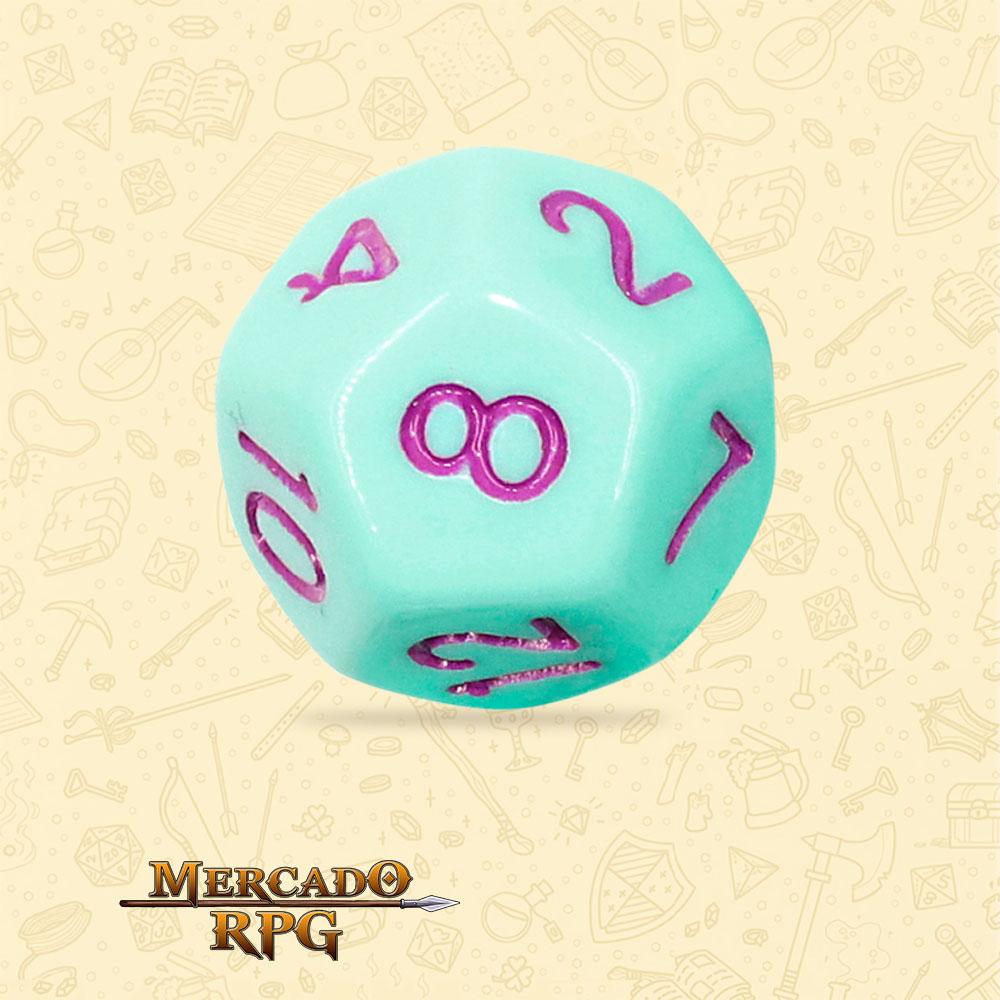 Dado de RPG - D12 Mint Rose Opaque Dice Purple Font - Doze Lados - Mercado RPG