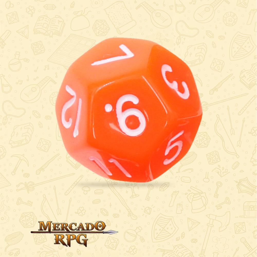 Dado de RPG - D12 Orange Opaque Dice - Doze Lados - Mercado RPG
