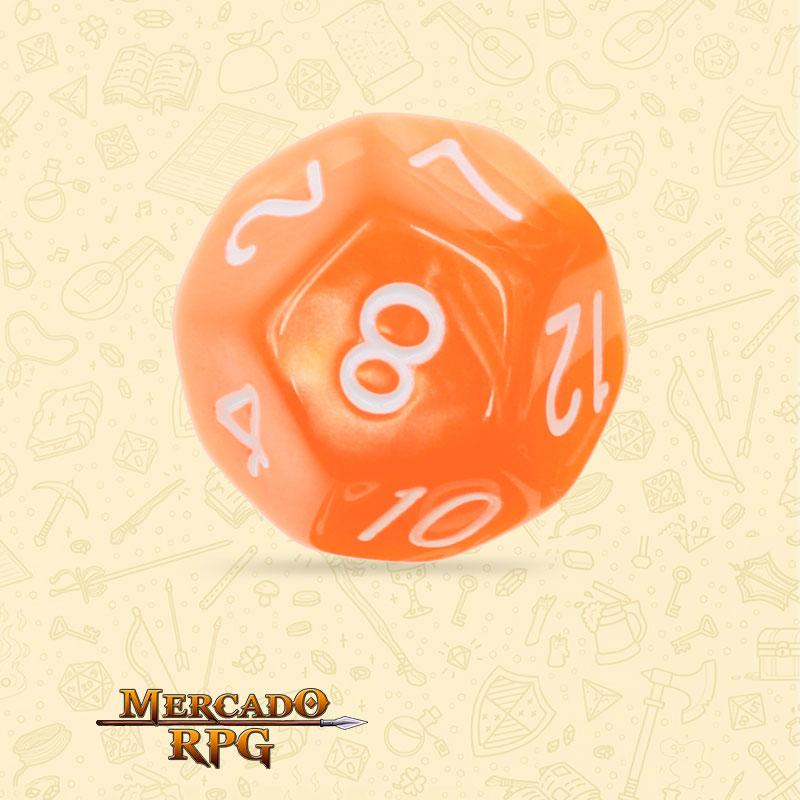 Dado de RPG - D12 Orange Pearl Dice - Doze Lados - Mercado RPG