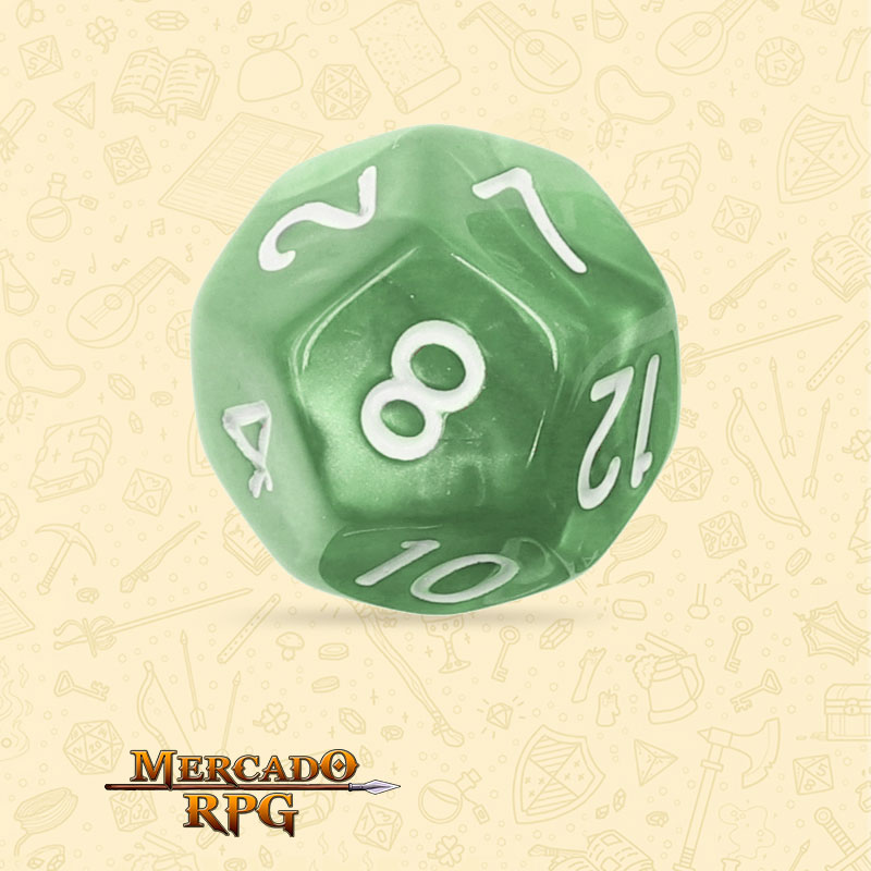 Dado de RPG - D12  Pale Green Pearl Dice - Doze Lados - Mercado RPG