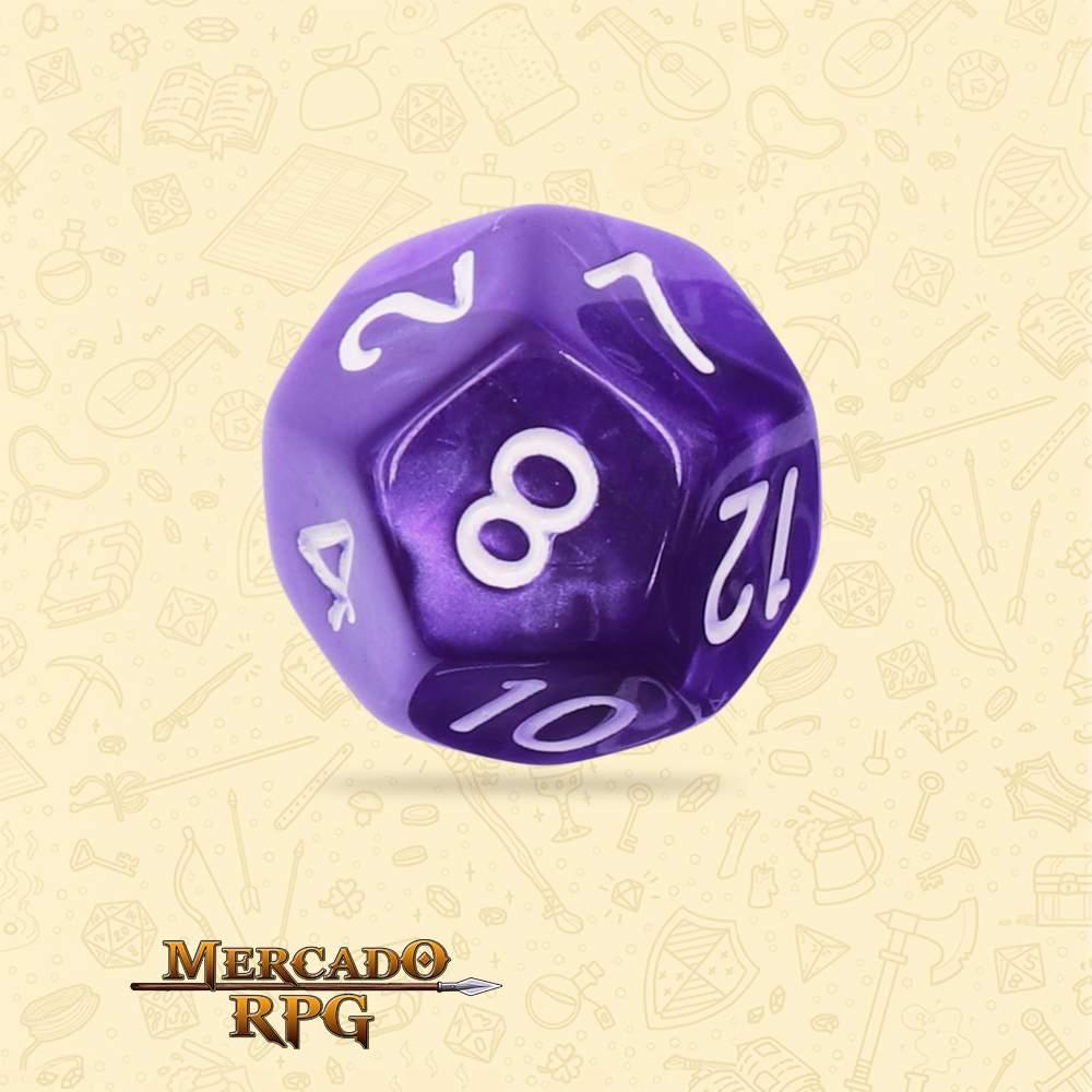 Dado de RPG - D12 Purple Pearl Dice - Doze Lados - Mercado RPG