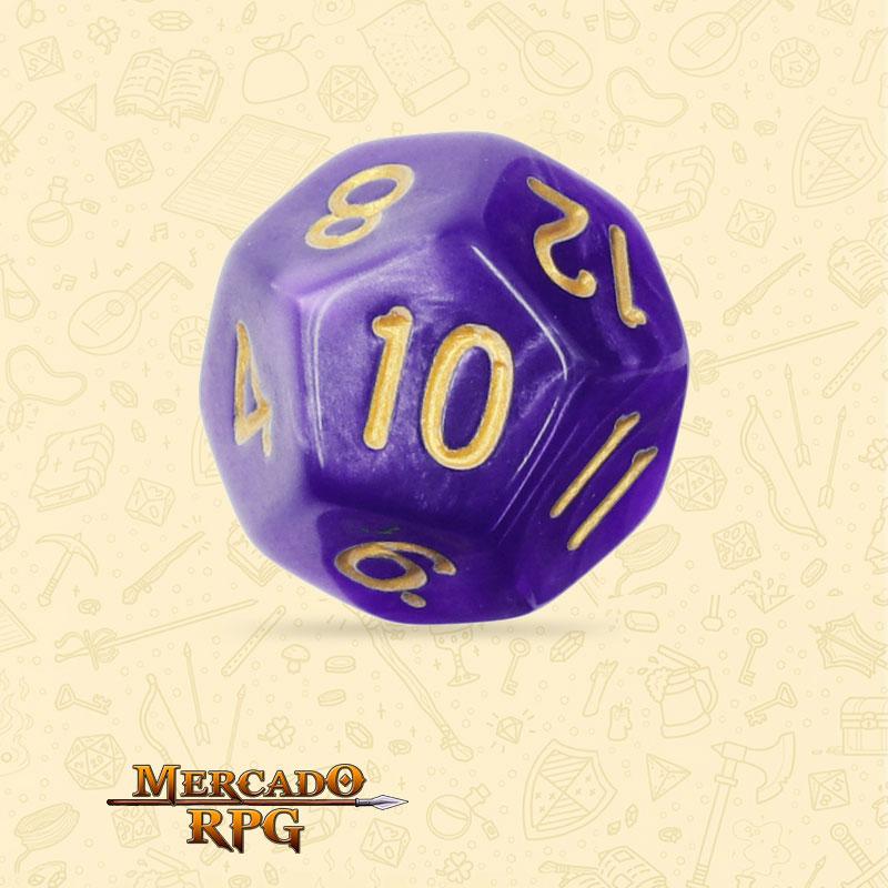 Dado de RPG - D12 Purple Pearl Dice Golden Font - Doze Lados - Mercado RPG