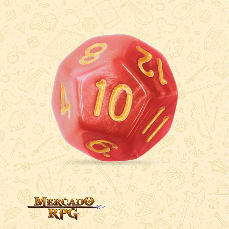 Dado de RPG - D12 Red Pearl Dice Golden Font - Doze Lados - Mercado RPG