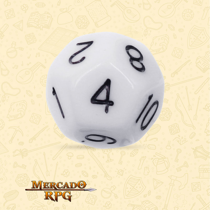 Dado de RPG - D12 White Opaque Dice - Doze Lados - Mercado RPG