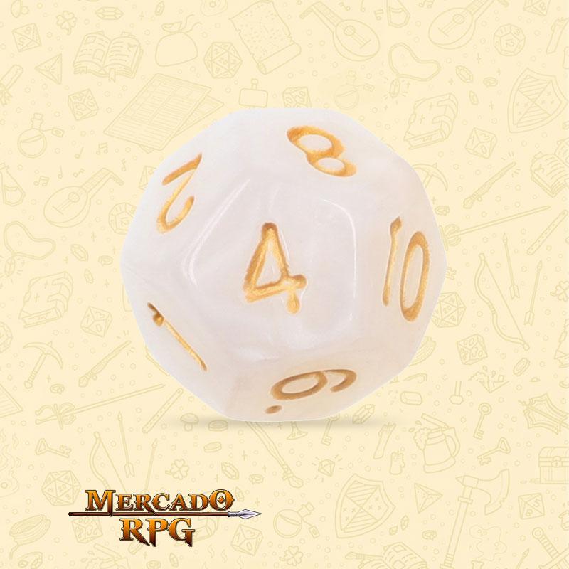 Dado de RPG - D12 White Pearl Dice - Doze Lados - Mercado RPG