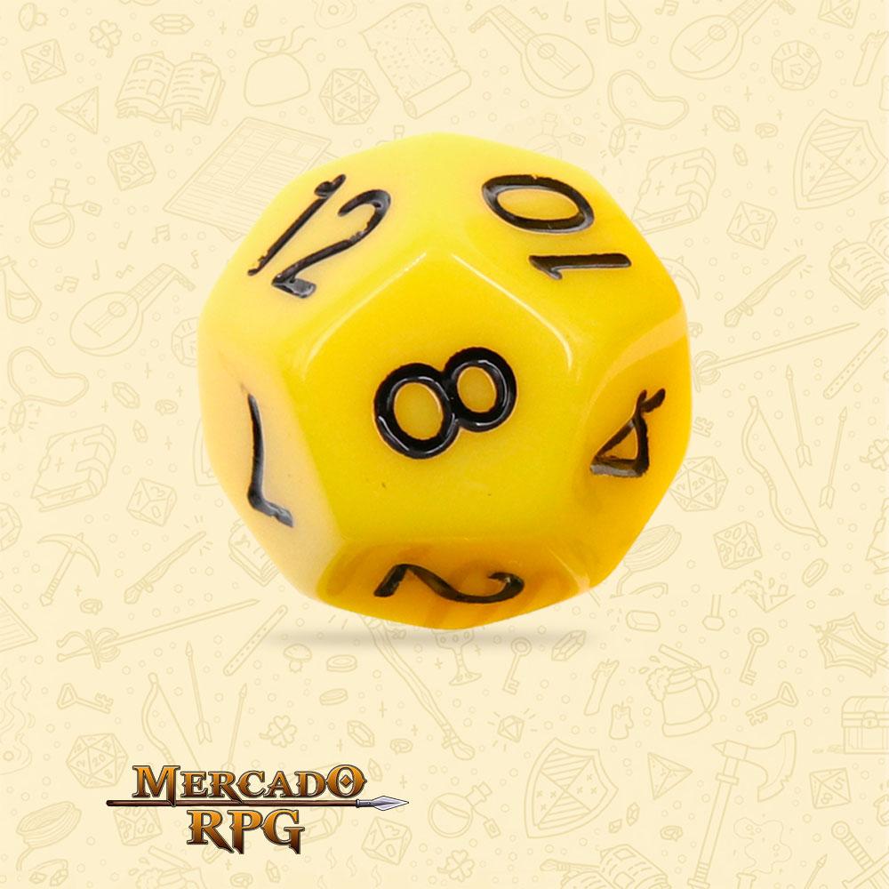 Dado de RPG - D12 Yellow Opaque Dice Black Font - Doze Lados - Mercado RPG