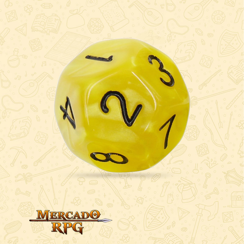 Dado de RPG - D12  Yellow Pearl Dice Black Font - Doze Lados - Mercado RPG