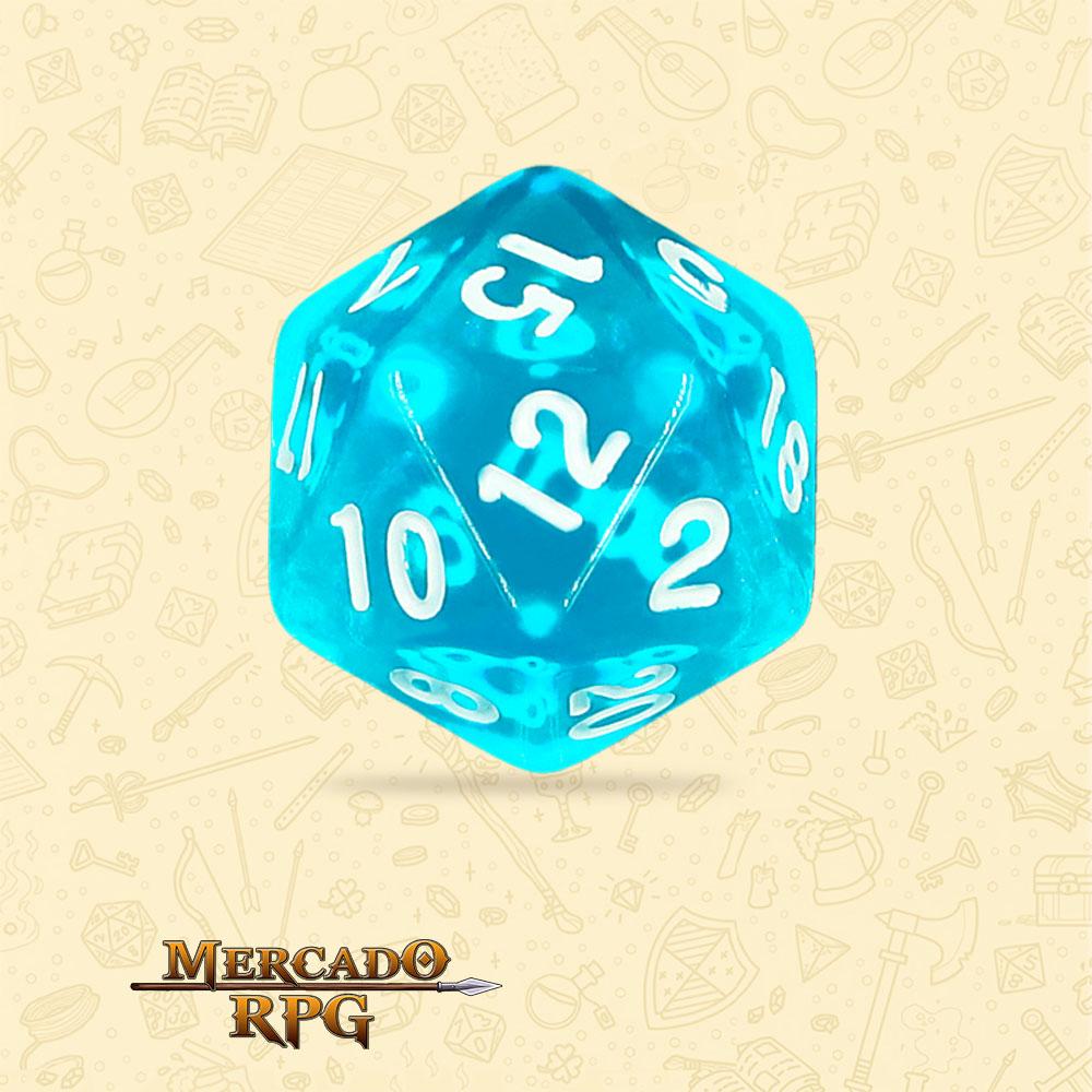 Dado de RPG - D20 Azure Gems Transparent Dice - Vinte Lados - Mercado RPG