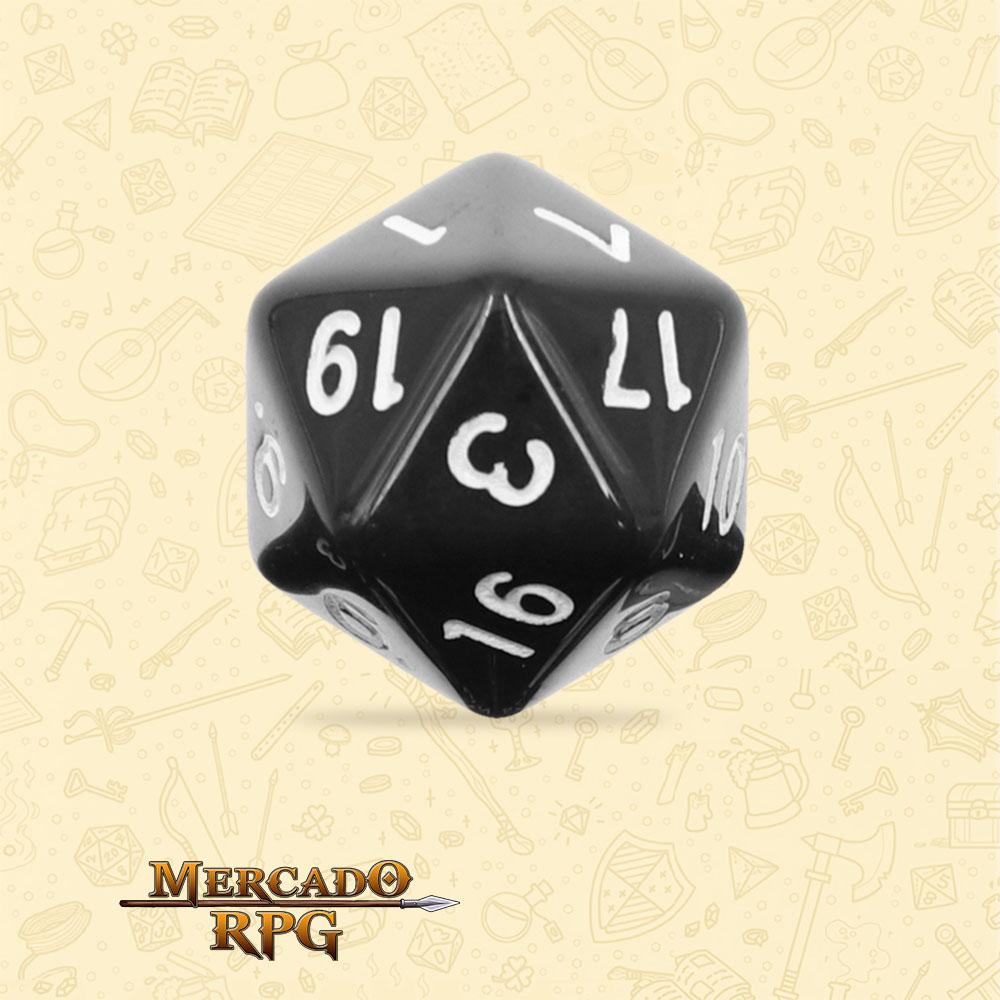 Dado de RPG - D20 Black Opaque Dice - Vinte Lados - Mercado RPG