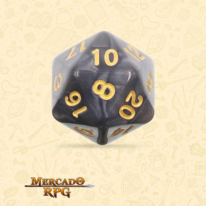 Dado de RPG - D20 Black Pearl Dice Golden Font - Vinte Lados - Mercado RPG