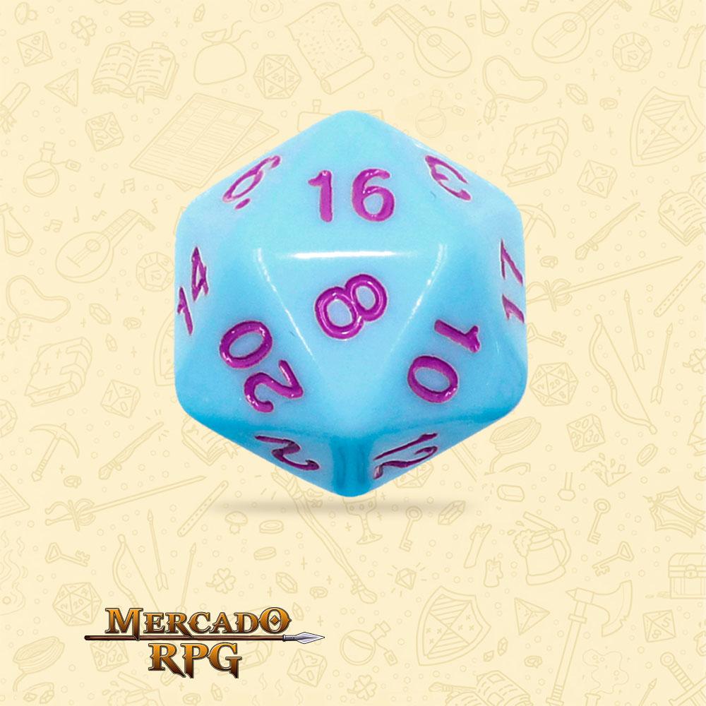 Dado de RPG - D20 Blue Jay Opaque Dice Purple Font - Vinte Lados - Mercado RPG