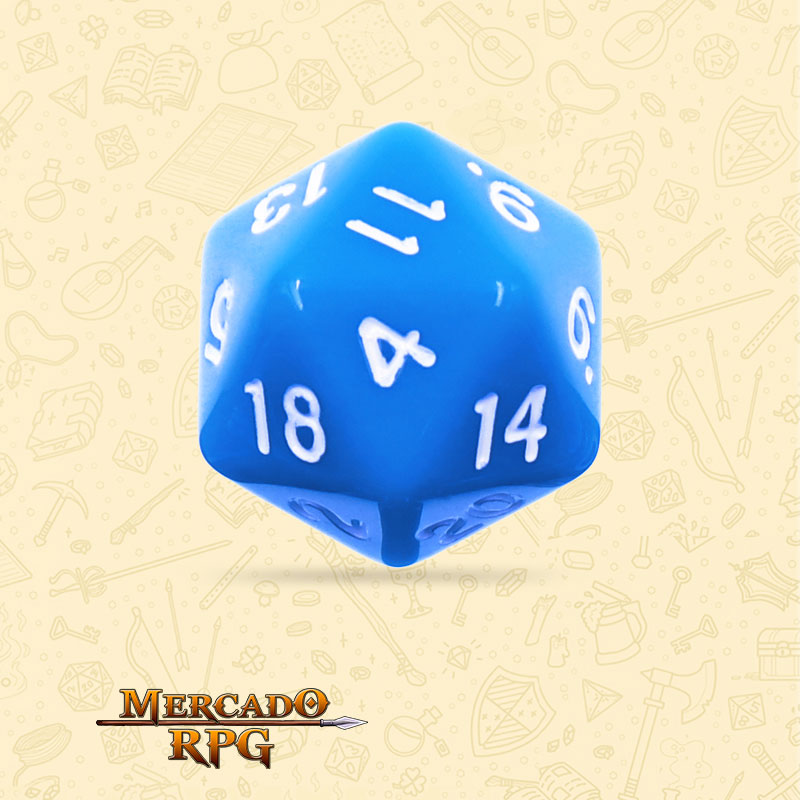 Dado de RPG - D20 Blue Opaque Dice - Vinte Lados - Mercado RPG