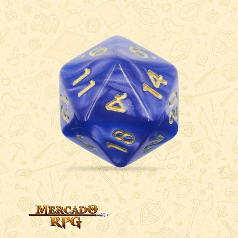 Dado de RPG - D20 Blue Pearl Dice Golden Font - Vinte Lados - Mercado RPG