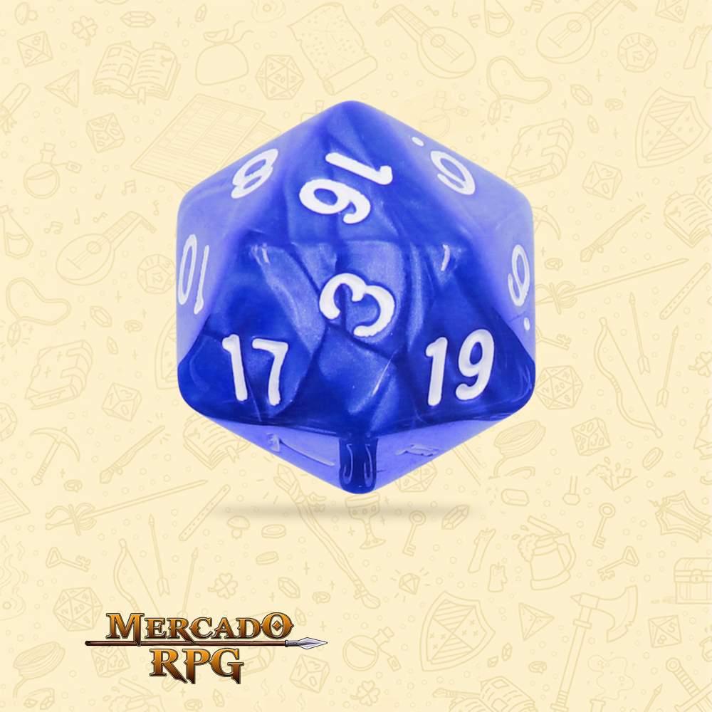 Dado de RPG - D20 Blue Pearl Dice - Vinte Lados - Mercado RPG