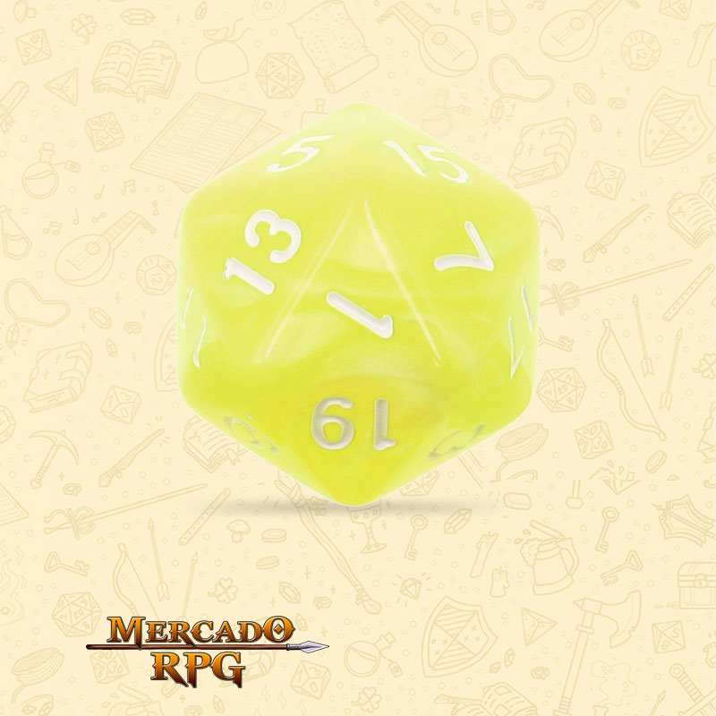 Dado de RPG - D20  Bright Yellow Pearl Dice - Vinte Lados - Mercado RPG
