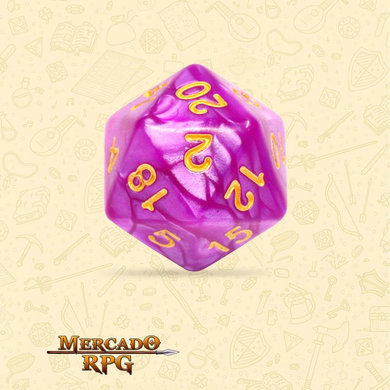 Dado de RPG - D20 Dark Purple Pearl Dice - Vinte Lados - Mercado RPG