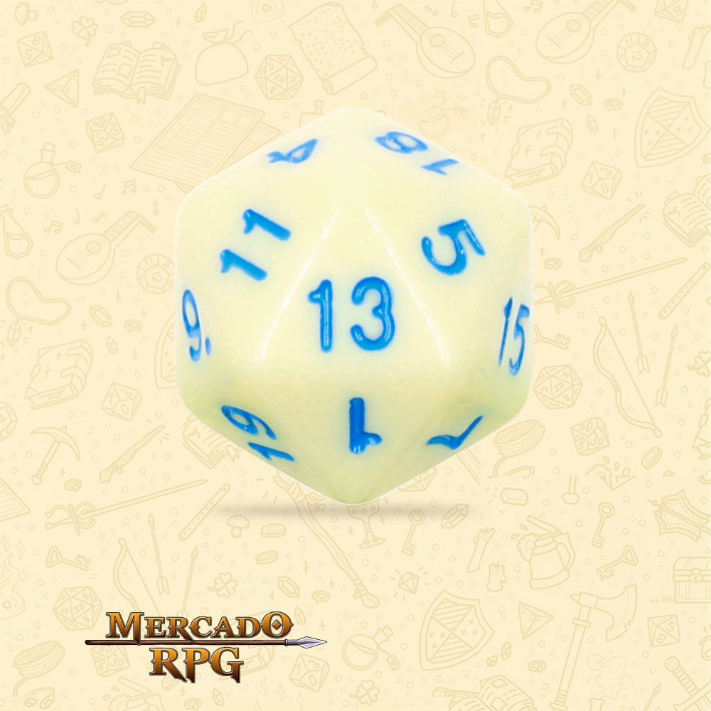 Dado de RPG - D20 Eggshell Robin Opaque Dice Blue Font - Vinte Lados - Mercado RPG
