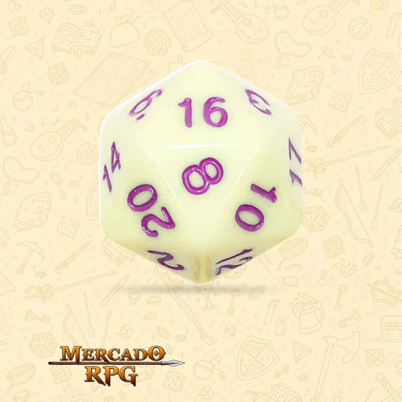 Dado de RPG - D20  Eggshell Rose Opaque Dice Purple Font - Vinte Lados - Mercado RPG