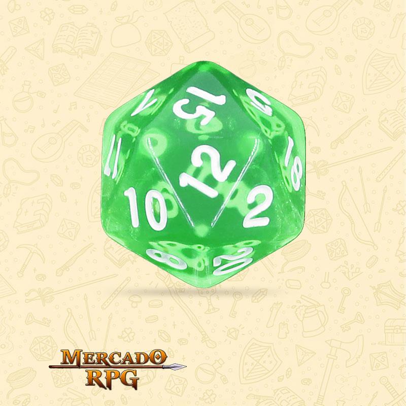 Dado de RPG - D20 Esmerald Gems Transparent Dice - Vinte Lados - Mercado RPG