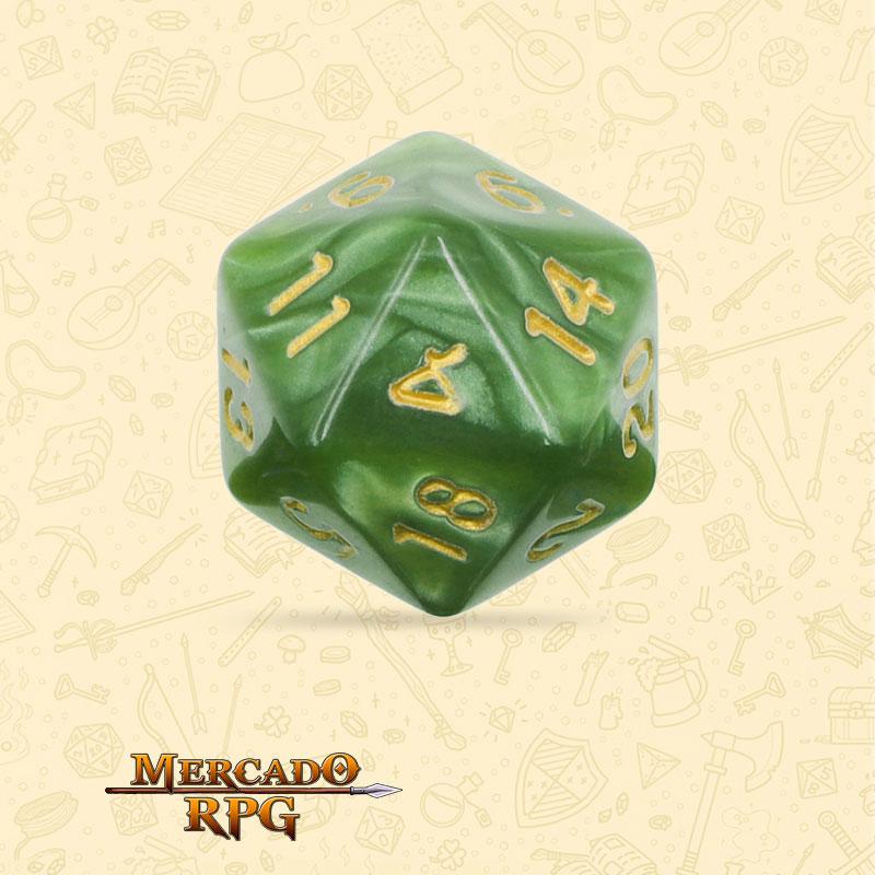 Dado de RPG - D20 Grass Green Pearl Dice Golden Font - Vinte Lados - Mercado RPG