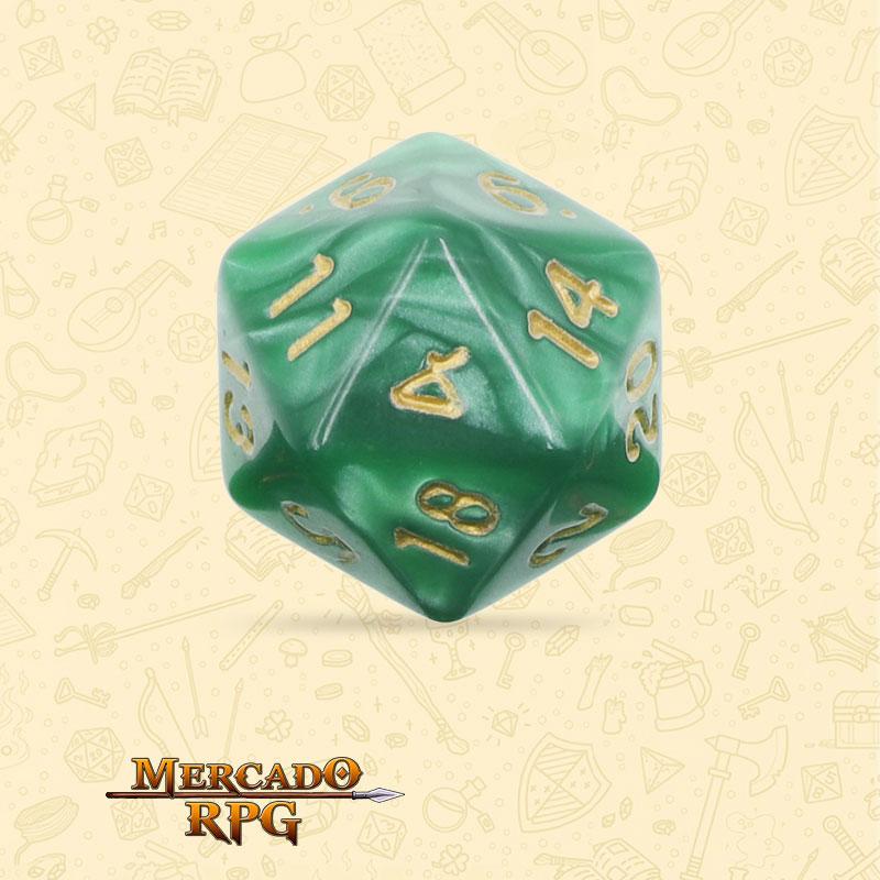 Dado de RPG - D20 Green Pearl Dice Golden Font - Vinte Lados - Mercado RPG